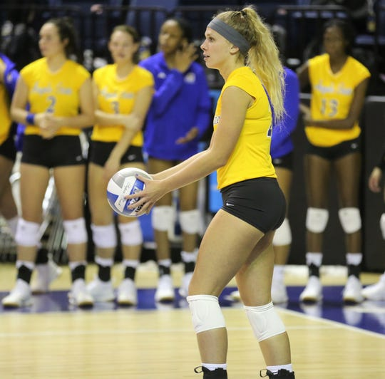 Angelo State University's Brianna Hudson prepares to serve during a match against Southeastern Oklahoma at the Kathleen Brasfield ASU Invitational Friday, Sept. 6, 2019.