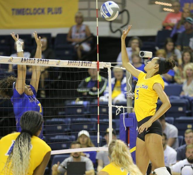 Angelo State University's Sundara Chinn makes a shot during a match against Southeastern Oklahoma at the Kathleen Brasfield ASU Invitational Friday, Sept. 6, 2019. The Rambelles won 25-7, 25-11, 20-25, 25-10.