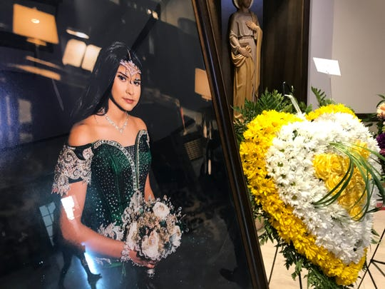 A photo of Leilah Hernandez is on display at St. Elizabeth Ann Seton Church in Odessa, Texas during funeral services for the 15-year-old Friday, Sept. 6, 2019.