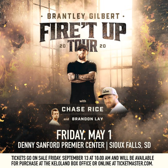 Brantley Gilbert will be performing in Sioux Falls on Friday, May 1, 2019.