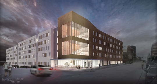 "A rendering of a proposed $50 million apartment complex for 505 E. St. Louis St. in downtown Springfield. Developers want to leverage both federal capital-gains tax incentives for ""qualified opportunity zones"" and local property tax abatement for blight-area redevelopment."