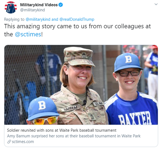 Militarykind Videos cites the St. Cloud Times as the original source for a video retweeted by President Trump Sept. 4, 2019.