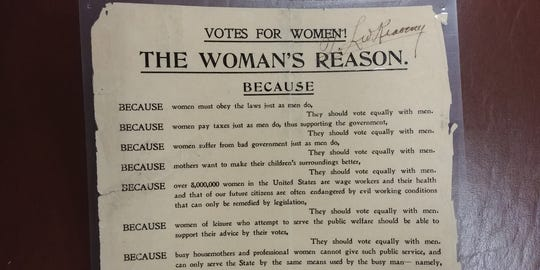 A newspaper clipping archived at the Stearns History Museum calls for a women's right to vote.