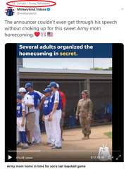 A screenshot of President Donald Trump's retweet of a video shot by the St. Cloud Times and re-shared by Militarykind Videos. The video depicts a military mom surprising her sons at a Waite Park baseball game. Emphasis added by the Times.
