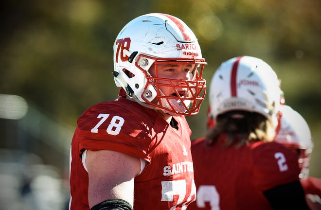 Ben Bartch looks to the sidelines after a play during the first half of the Saturday, Oct. 20, 2018, game against St. Olaf at Clemens Stadium in Collegeville.