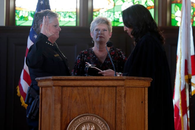 Terri Brown, a 28-year-veteran of the Florida State University Police Department, was sworn in as the new chief during a ceremony Friday. Brown is the first woman to hold this position at FSU.