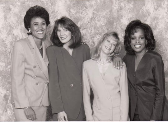 FAMU grad Pam Oliver (far right) shares a moment with fellow women sports journalism pioneers Robin Roberts (left), Lesley Visser and Andrea Kramer during an ESPN photo shoot in 1994.