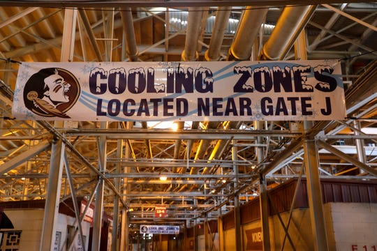 Cooling stations with misting fans will be set up around the stadium to help relieve fans of the heat at the Florida State University game on Saturday.