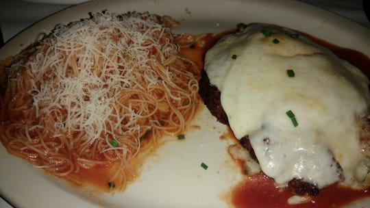 One of the Early Dining choices at Vero Prime is a large, juicy portion of chicken parmesan.