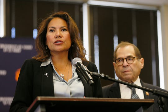 U.S. Rep. Veronica Escobar introduces the representatives who came to El Paso for the House Judiciary Committee Subcommittee on Immigration and Citizenship field hearing Friday, Sept. 6, 2019, at the University of Texas at El Paso.