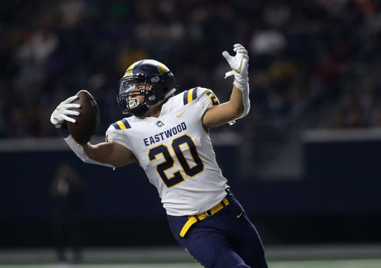 Eastwood running back Luca Gandara celebrates after scoring a touchdown against Plano on Sept. 5, 2019, at the Ford Center in Frisco, Texas.