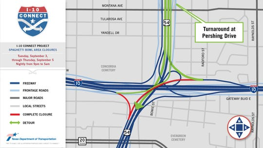 Map of ramp used by motorists to go to Juarez which will be closed for nine months. The ramp is in red.