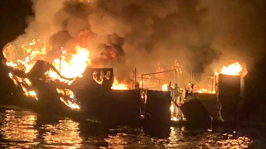 The Conception is engulfed in flames in this Sept. 2, 2019, file photo provided by the Santa Barbara County (Calif.) Fire Department. Thirty-four people were killed in the fire aboard the commercial scuba diving vessel off the Southern California coast.