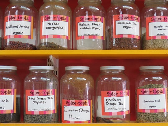 Bulk containers of tea are seen on the shelves at SpiceTopia in downtown Ventura.