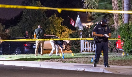 Visalia Police investigate a shooting in the 2400 block of West Sweet Avenue on Thursday, September 5, 2019. A 2-year-old was transported from the scene with a gunshot to the head just before 6 p.m. Police say the father was present at the time of the shooting but details and the child's condition were not immediately available.