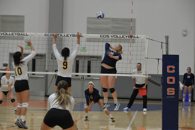 Christa Pilgrim is one of eight sophomores on the COS women's volleyball team.