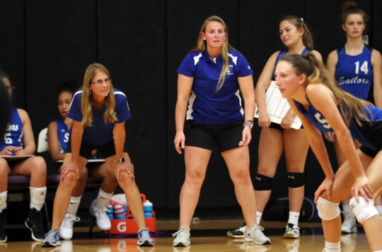 From left, Hen Hud volleyball coach Diane Swertfager and her daughter Theresa coached Hen Hud to a thrilling 5-set victory over John Jay at John Jay High School in Cross River Sept. 5, 2019.