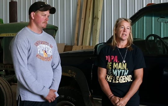 Peter and Sally Petersen are interviewed on Thursday, September 5, 2019, at their farm in Pittsville, Wisconsin. Father and spouse Pete Petersen died one year ago after falling from a silo due to exposure to silo gas, which spurred to Pittsville Fire Department to acquire a gas meter that can detect the gas.