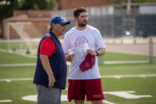 Former NFL coach Marty Mornhinweg talks with his son, Sky, during a recent Midwestern State football practice. Sky Mornhinweg is in his first season as the Mustangs' quarterbacks coach.