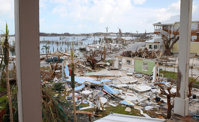 Damaged houses and debris is seen on devastated Great Abaco Island on September 6, 2019 in the Bahamas.