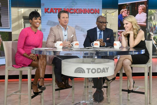 """Today"" co-anchor Tamron Hall, left, Billy Bush, Al Roker and ""SNL"" star Kate McKinnon during a 2016 episode of the morning news show."