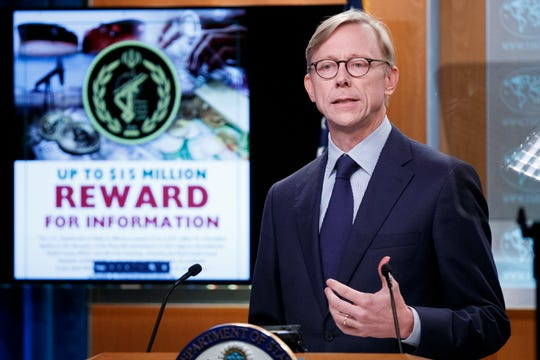 U.S. Special Representative for Iran and Senior Adviser to the Secretary of State Brian Hook responds to a question from the news media during a press conference at the State Department in Washington, D.C., on September 4, 2019.