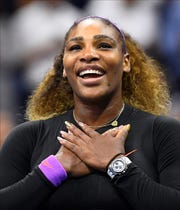 Serena Williams tied Chris Evert with her 101st singles win at the US Open.