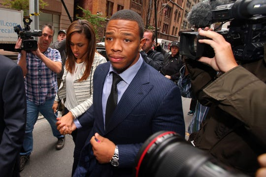 Suspended NFL running back Ray Rice arrives with his wife, Janay Rice for his appeal hearing on his indefinite suspension from the NFL on Nov 5, 2014.