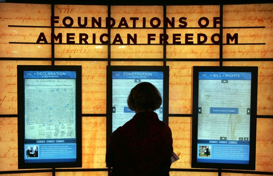 A visitor at the McCormick Tribune Freedom Museum in Chicago on April 6, 2006.