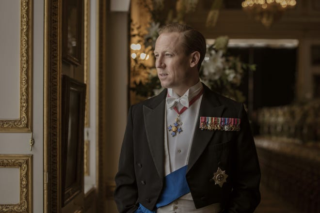 Tobia Menzies in formal wear as Prince Philip.