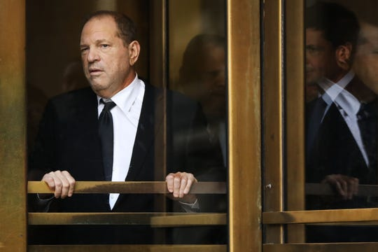 Harvey Weinstein exits court in New York on Aug. 26, 2019, following another hearing on his sex-crimes case.