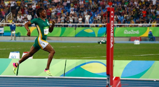 Caster Semenya (RSA) leads the pack as they compete in the women's 800m final during the Rio 2016 Summer Olympic Games at Estadio Olimpico Joao Havelange.