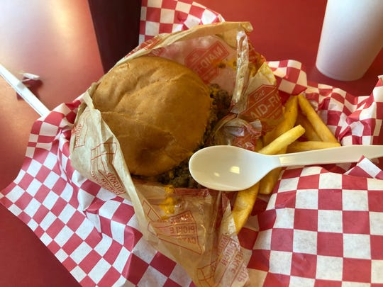 A loose meat sandwich and fries from a Midwest cheap-eats institution, Maid-Rite. This particular Maid-Rite was in Cedar Rapids