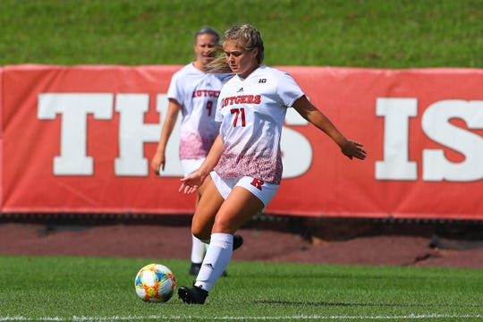 Shea Holland playing for Rutgers women's soccer