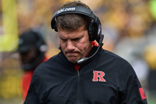 Sep 7, 2019; Iowa City, IA, USA; Rutgers Scarlet Knights head coach Chris Ash reacts during the second quarter against the Iowa Hawkeyes at Kinnick Stadium. Mandatory Credit: Jeffrey Becker-USA TODAY Sports