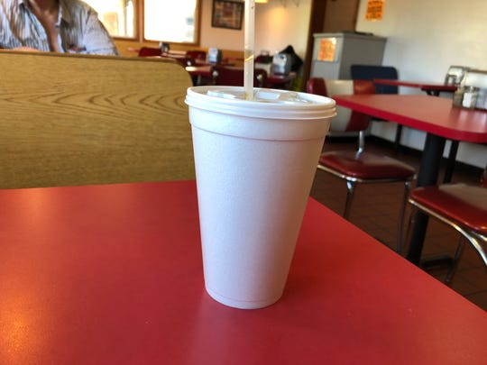 Behold, a Styrofoam cup in a restaurant in the year 2019