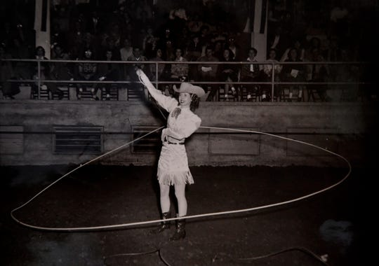 Virginia Reger performs for a rodeo crowd in this undated photograph from the 1940s or 50s. Retired and in her 90s, Reger lives in Hawley next door to her son, Mark Hadley.