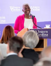 Levern Hamlin Allen speaks at Western Carolina University for the historic dedication of its newest campus building named in her honor Sept. 5.