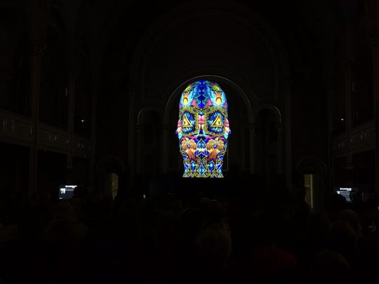 """Sviatovid"" by the BARTKRESA studio was on display at the United Presbyterian Church of Binghamton during the LUMA Projection Arts Festival on Sept 7, 2019."