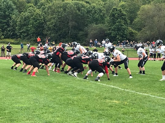 Newark Valley prepares to run a play against Windsor during Saturday's Section 4 Football Conference non-division game at NV. The Black Knights won, 44-29.