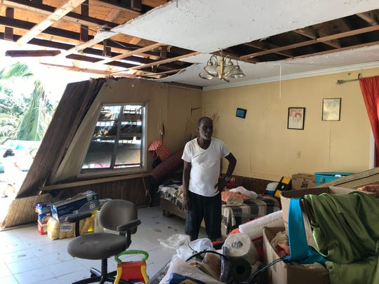 A house at the southern tip of Sandy Point was destroyed when a tornado ripped through the area during Hurricane Dorian. The family is still residing in the home.