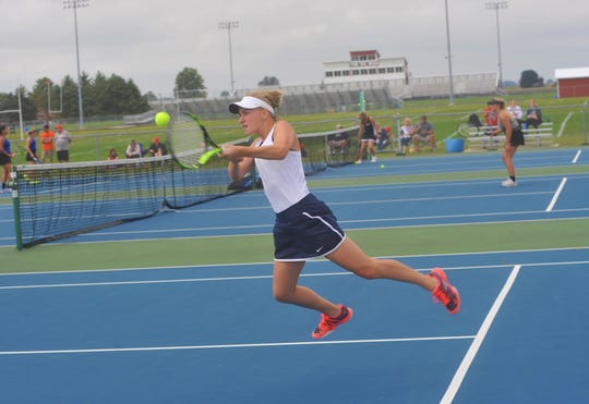 Galion's Katherine Talbott smashes a backhand return in the Sam Sabback Invitational.