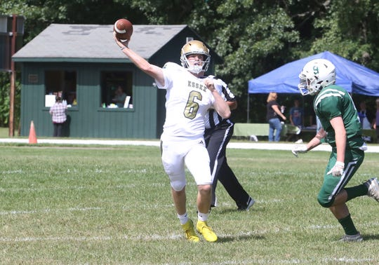 Essex Junior QB Sam Bowen throws for a touchdown during the Hornets 36-6 win over Rice on Saturday at Rice's Bill Landers Field.