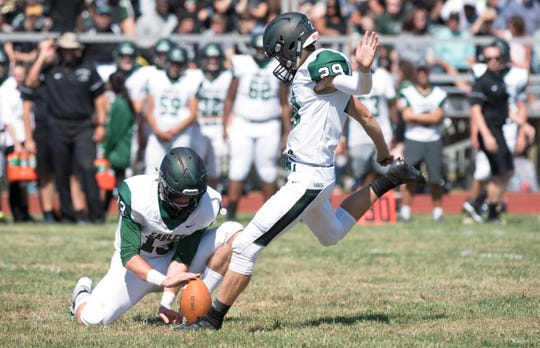 West Deptford's Brandon Ratcliffe kicks an extra point during the 2nd quarter of the football game between West Deptford and Paulsboro, played at Paulsboro High School on Saturday, September 7, 2019.  West Deptford defeated Paulsboro, 31-14.