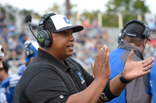 Chillicothe head coach Doug Pryor cheers on his team during a 27-14 win over Mifflin on Friday, Sept. 5, 2019, in Chillicothe, Ohio.