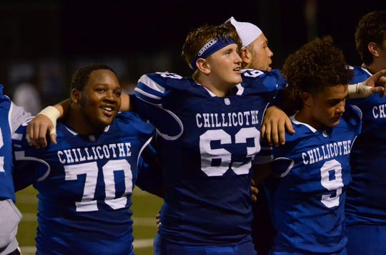 Chillicothe celebrates after defeating Mifflin 27-14 on Friday, Sept. 5, 2019, in Chillicothe, Ohio.