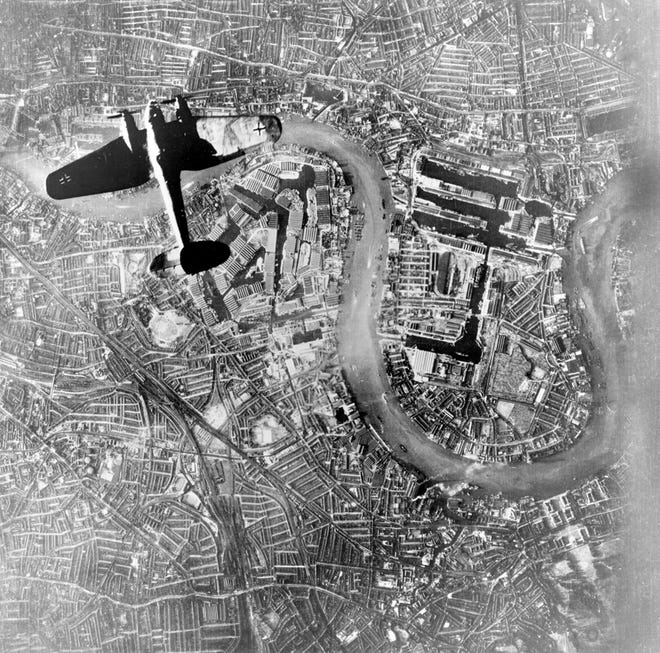 A German Luftwaffe bomber flying over the East End of London at the start of the Luftwaffe's evening raids on Sept. 7, 1940.