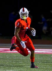 Deshawn Pace of Colerain runs a punt for a touchdown against the St. X Bombers during the Skyline Chili Crosstown Showdown on Friday,  September 6, 2019 at Colerain High School in Colerain Township