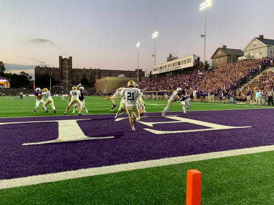 Indianapolis Cathedral attempts to punt at Elder High School