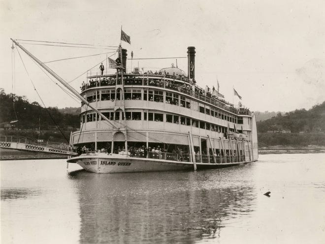 The steamboat Island Queen ferried passengers from the Public Landing to Coney Island. The second Island Queen, pictured, operated from 1925 until it burned in 1947.